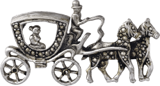 Coach and horses brooch